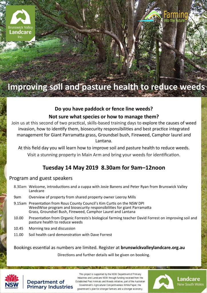 Flyer for Improving soil and pasture health to reduce weeds field day